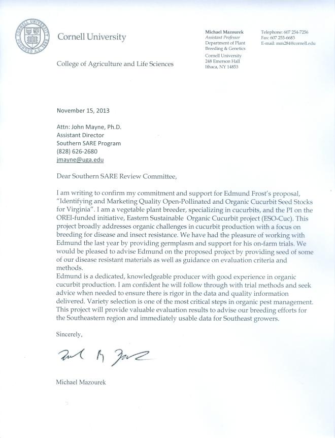 Cornell University Letter of Support